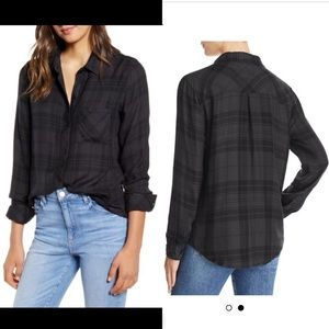 NWT Rails Hunter plaid shirt in shadow black
